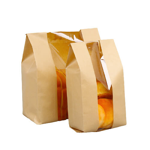 Paper bag for bakery with window