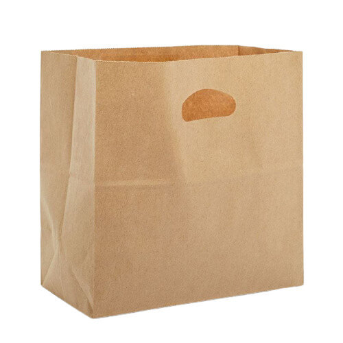 Paper bag with die cutting handles